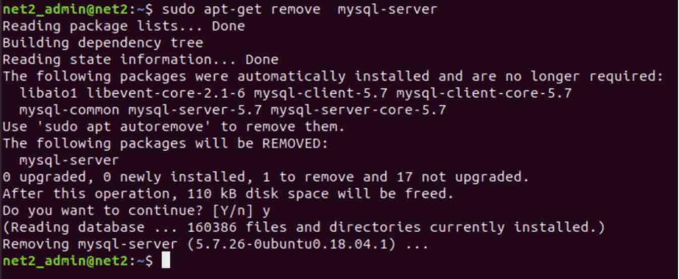 rying to remove the package mysql-server.