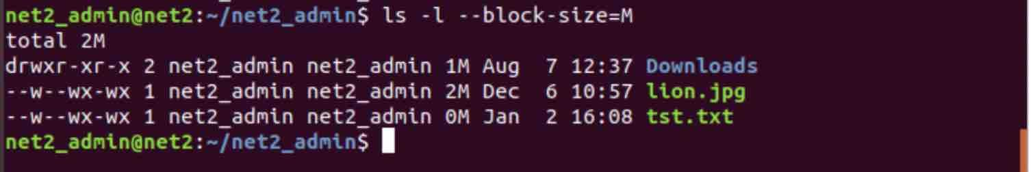 command ls -l --block-size=M
