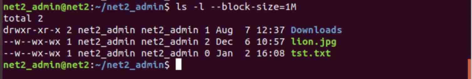 command ls -l --block-size=1M