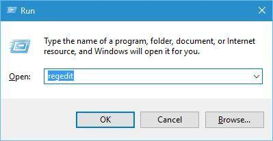 outlook data-file cannot be accessed regedit run window