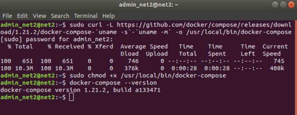 version of docker compose