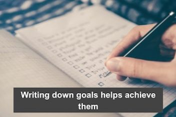Writing down goals helps achieve them