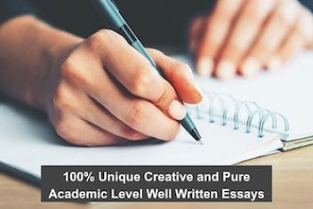 100% Unique Creative and Pure Academic Level Well Written Essays